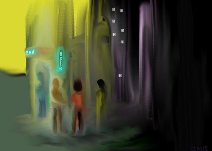 Night Time Art Prints Greeting Card featuring the digital art Door Check by Jessica Wright