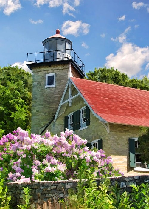 Door County Greeting Card featuring the painting Door County Eagle Bluff Lighthouse Lilacs by Christopher Arndt