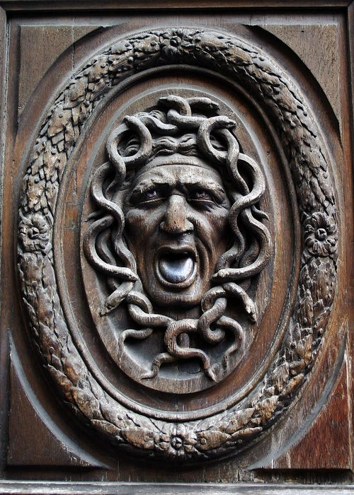 Paris Greeting Card featuring the photograph Door In Paris Medusa by A Morddel
