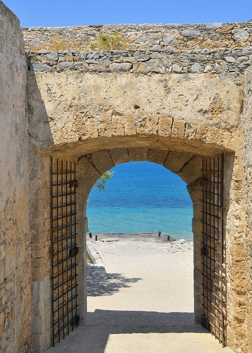 Serenity Greeting Card featuring the photograph Door To Joy And Serenity - Beautiful Blue Water Is Waiting by Matthias Hauser