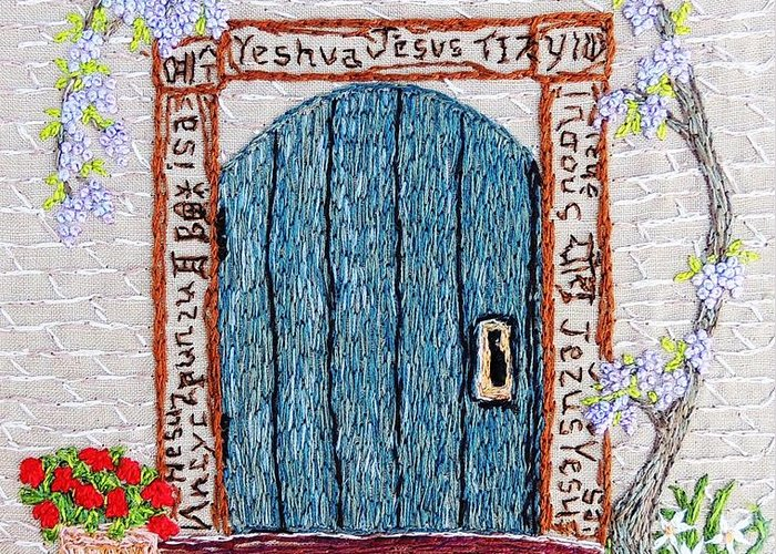 Door Greeting Card featuring the tapestry - textile Door With Many Languages by Stephanie Callsen