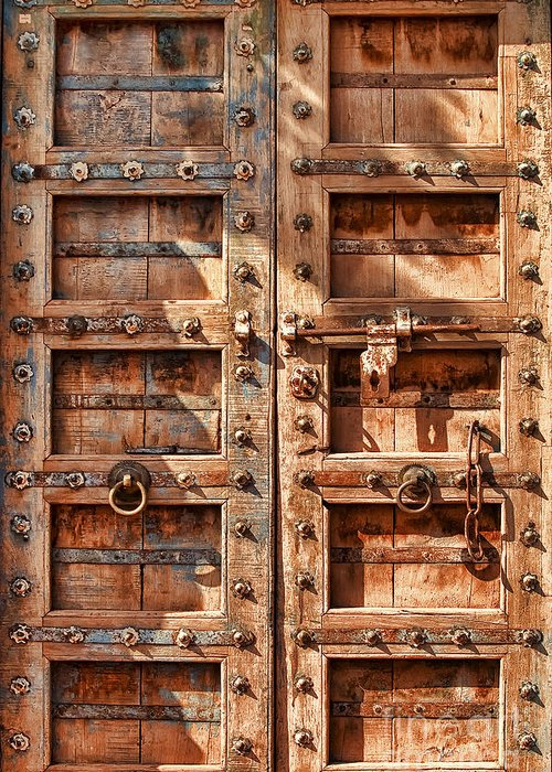 Architecture Greeting Card featuring the photograph Doors And Locks by Richard Patrick
