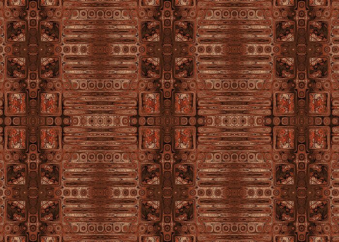 Geometric Abstract Greeting Card featuring the digital art Doors Of Zanzibar Clove by Judi Suni Hall