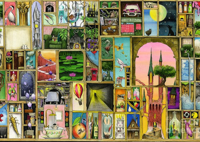 Collage Greeting Card featuring the digital art Doors Open by Colin Thompson