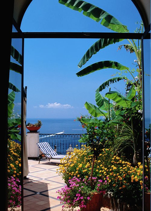 Tranquility Greeting Card featuring the photograph Doorway To Terrace At Hotel Punta by Dallas Stribley