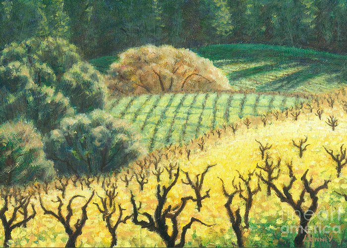 Landscape Greeting Card featuring the painting Dormants in the Mustards by Carl Downey