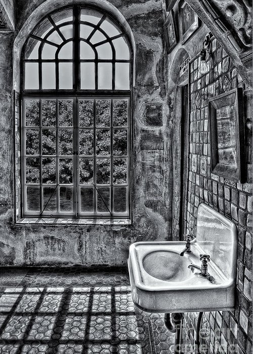 Byzantine Greeting Card featuring the photograph Dormer Bathroom Side View Bw by Susan Candelario