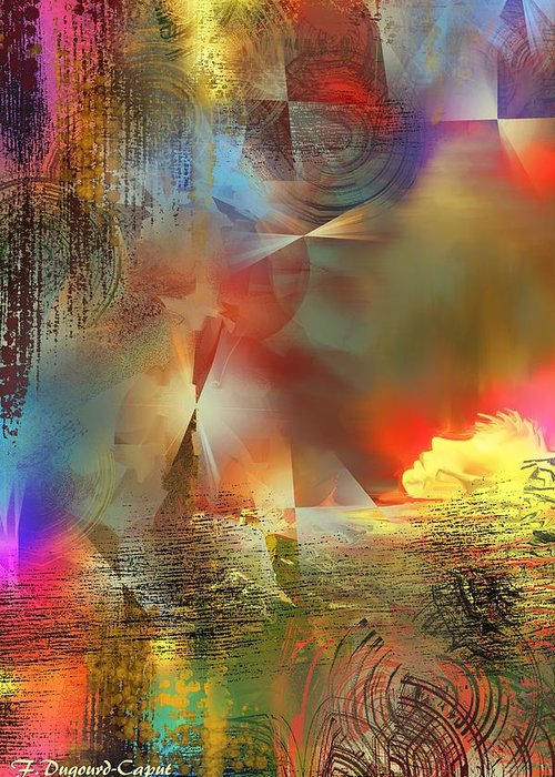 Abstract Greeting Card featuring the digital art Dormeur by Francoise Dugourd-Caput
