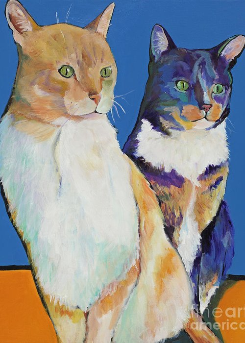 Pat Saunders-white Greeting Card featuring the painting Dos Amores by Pat Saunders-White