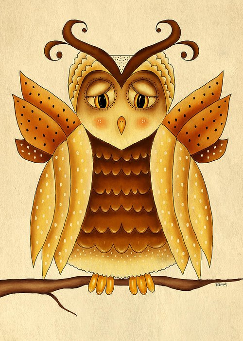 Owl Greeting Card featuring the painting Dottie by Brenda Bryant