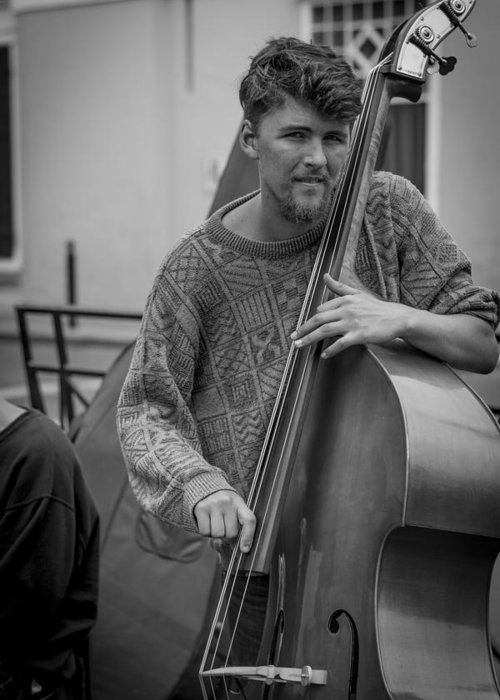 Double Bass Player Greeting Card featuring the photograph Double Bass Player by David Morefield