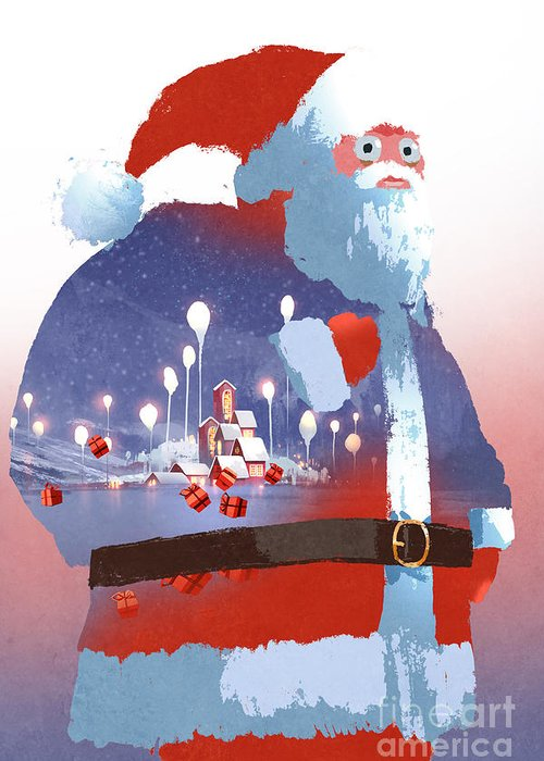 Gift Greeting Card featuring the digital art Double Exposure Of Santa Claus And by Tithi Luadthong