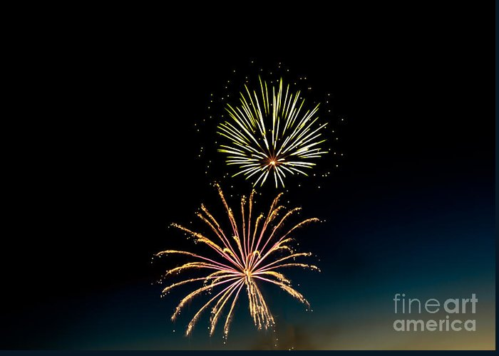 Fireworks Greeting Card featuring the photograph Double Fireworks Blast by Robert Bales