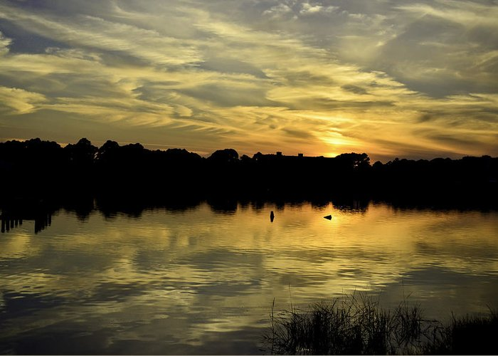 Sunset Greeting Card featuring the photograph Double Layer by Elbe Photography