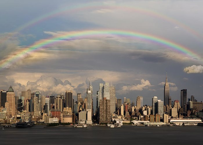 New York City Skyline Greeting Card featuring the photograph Double Rainbow Over Nyc by Susan Candelario