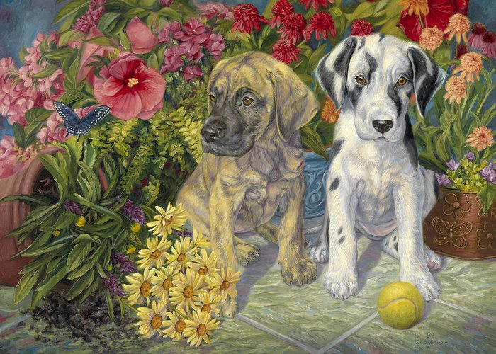 Dog Greeting Card featuring the painting Double Trouble by Lucie Bilodeau