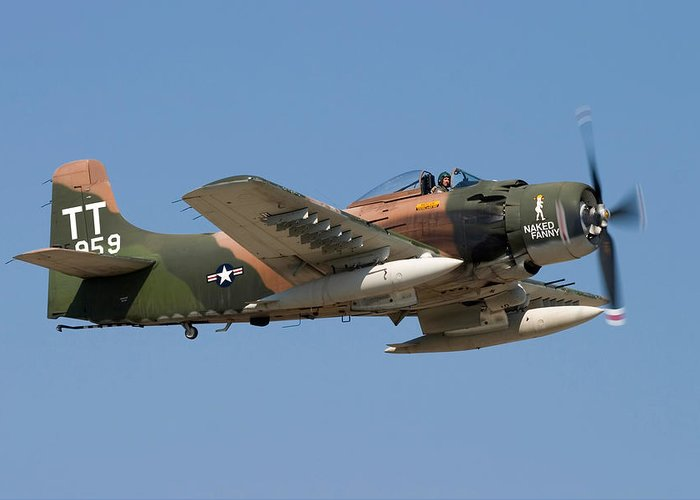 3scape Greeting Card featuring the photograph Douglas Ad-4 Skyraider by Adam Romanowicz