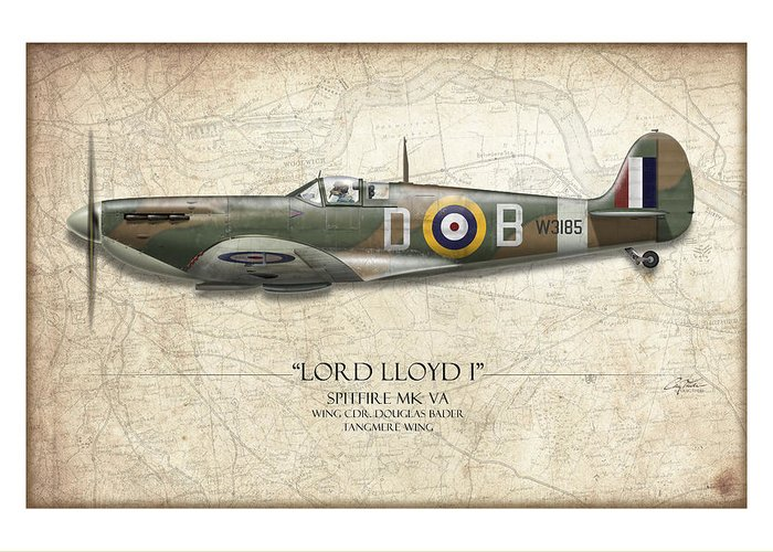 Aviation Greeting Card featuring the painting Douglas Bader Spitfire - Map Background by Craig Tinder
