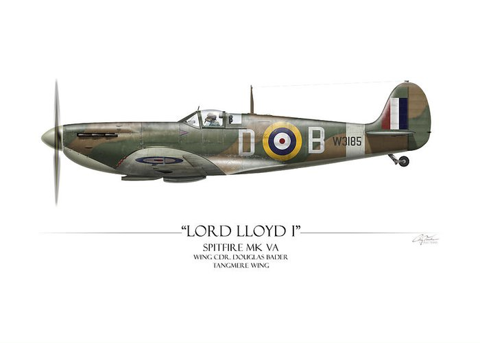 Aviation Greeting Card featuring the painting Douglas Bader Spitfire - White Background by Craig Tinder