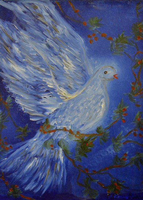 Dove Greeting Card featuring the painting Dove Spirit Of Peace by Louise Burkhardt