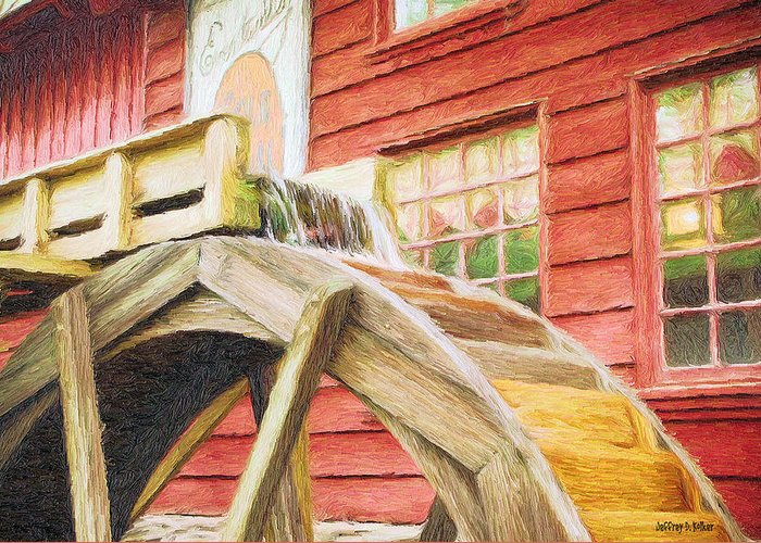Flour Greeting Card featuring the painting Down By The Old Mill by Jeff Kolker
