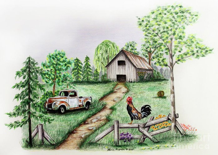 Farm Greeting Card featuring the drawing Down On The Farm by Lena Auxier