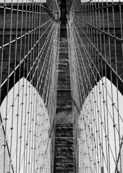 Brooklyn Bridge Greeting Card featuring the photograph Down The Middle by Mark Szep