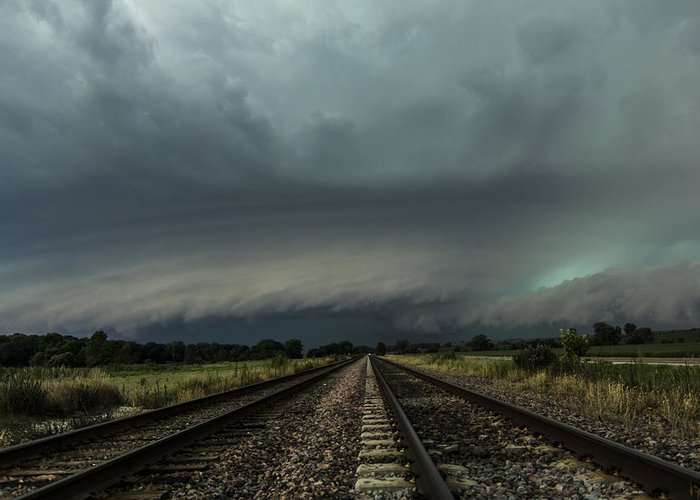 Supercell Greeting Card featuring the photograph Down The Tracks by Jake Thompson
