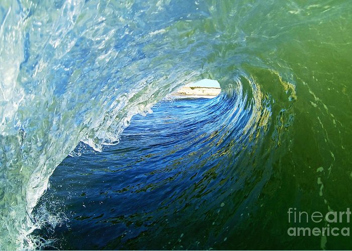 Wave Greeting Card featuring the photograph Down The Tube by Paul Topp
