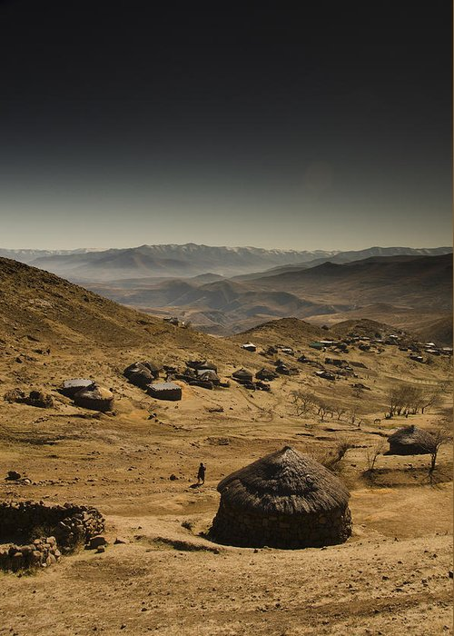 Lesotho Greeting Card featuring the photograph Downhill by Aaron Bedell