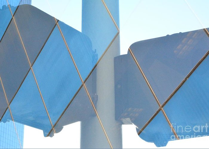 Abstract Greeting Card featuring the photograph Downtown Blue by Thomas Carroll