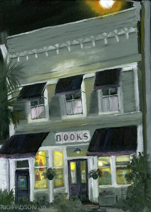 Apalachicola Greeting Card featuring the painting Downtown Books 11 by Susan Richardson