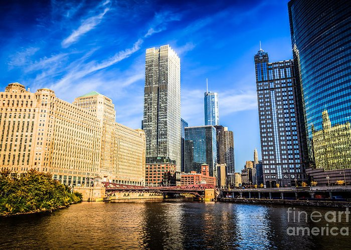 America Greeting Card featuring the photograph Downtown Chicago At Franklin Street Bridge Picture by Paul Velgos