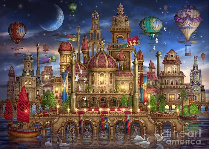 Architecture Greeting Card featuring the digital art Downtown by Ciro Marchetti