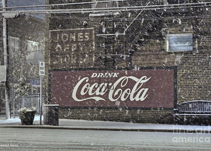 Mebane North Carolina Greeting Card featuring the photograph Downtown Covered In Snow by Benanne Stiens
