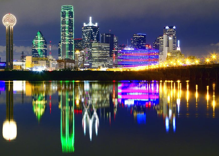 Scenics Greeting Card featuring the photograph Downtown Dallas Skyline Reflections by Matthew Visinsky