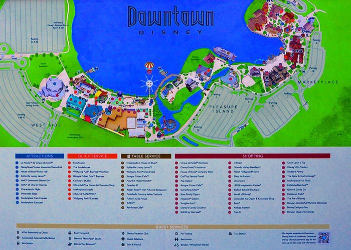 Disney Florida Map.Downtown Disney Florida Map Classic Greeting Card For Sale By David