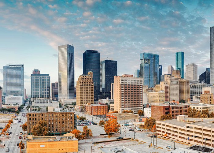 Downtown Houston Greeting Card featuring the photograph Downtown Houston Panorama by Silvio Ligutti