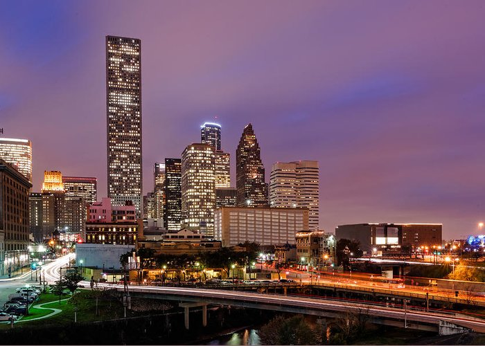 Downtown Houston Greeting Card featuring the photograph Downtown Houston Texas Skyline Beating Heart Of A Bustling City by Silvio Ligutti