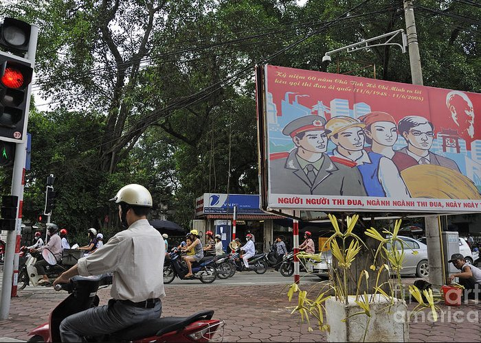 Vietnamese Greeting Card featuring the photograph Downtown In Hanoi by Sami Sarkis