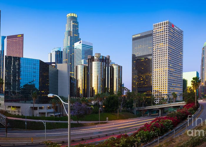 America Greeting Card featuring the photograph Downtown L.a. by Inge Johnsson