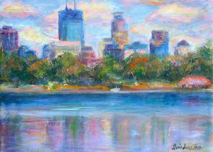 Quin Sweetman Greeting Card featuring the painting Downtown Minneapolis Skyline From Lake Calhoun by Quin Sweetman
