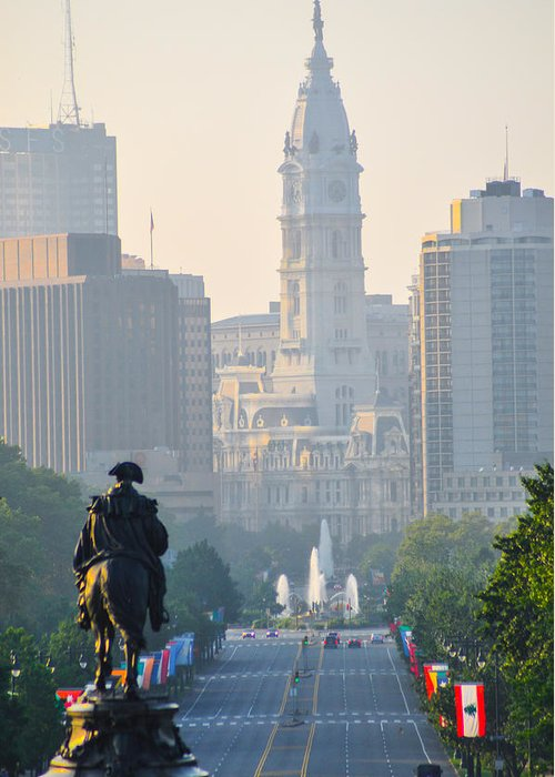 Downtown Greeting Card featuring the photograph Downtown Philadelphia - Benjamin Franklin Parkway by Bill Cannon