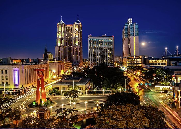 Downtown District Greeting Card featuring the photograph Downtown San Antonio by John Cabuena Flipintex Fotod