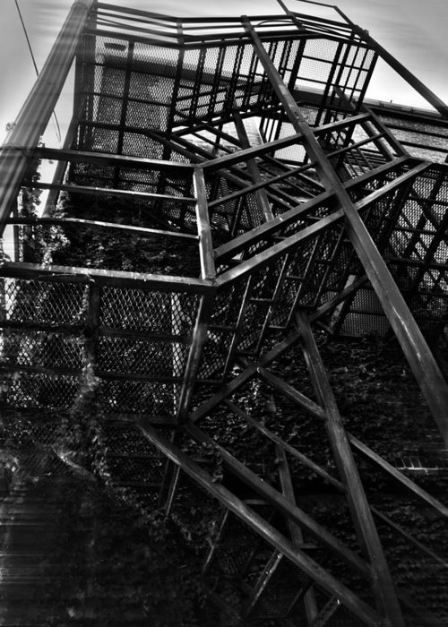 Black And White Photograph Greeting Card featuring the photograph Downtown Stairs by Kenal Louis