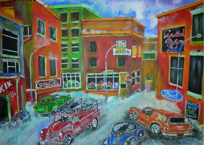 Litvack Greeting Card featuring the painting Downtown Traffic by Michael Litvack