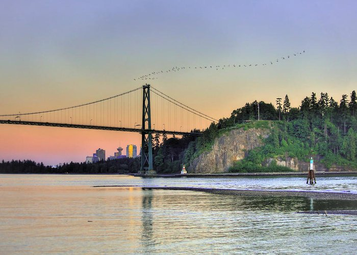 Colorful Greeting Card featuring the photograph Downtown Vancouver And Lions Gate Bridge At Twilight by Eti Reid