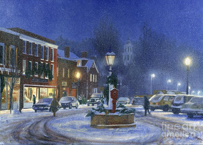 Woodstock Greeting Card featuring the painting Downtown Woodstock by Candace Lovely