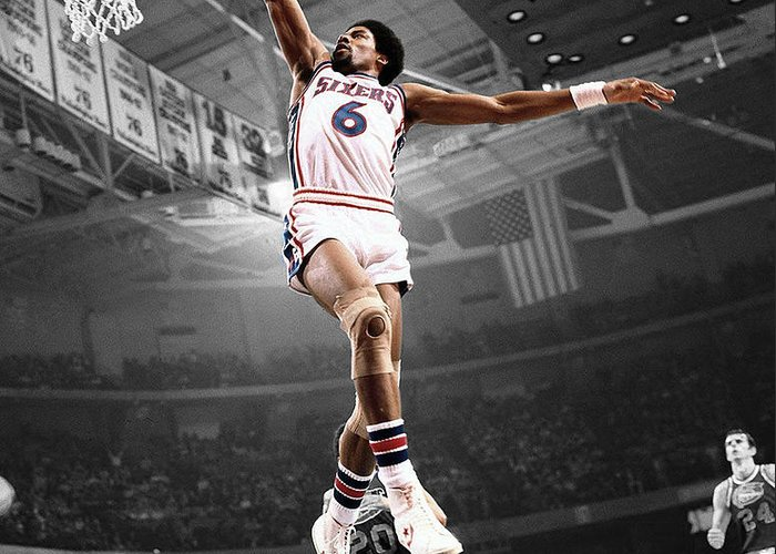Julius Erving Greeting Card featuring the photograph Dr J by Brian Reaves