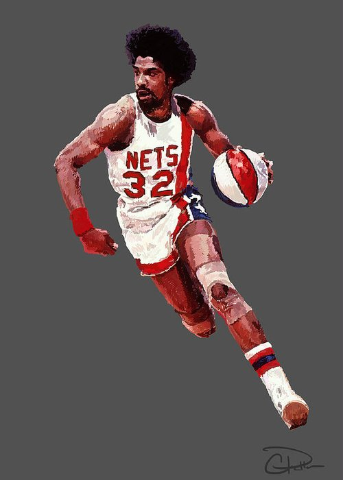 Julius Erving Greeting Card featuring the digital art Dr. J by Charley Pallos